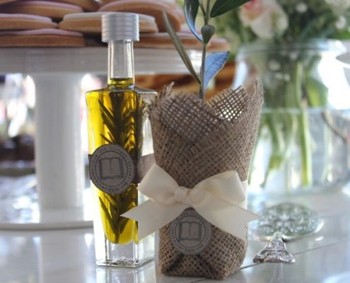 Olive oil bomboniere bottle with olive tree